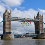 Tower Bridge in London during 2012 Olympics