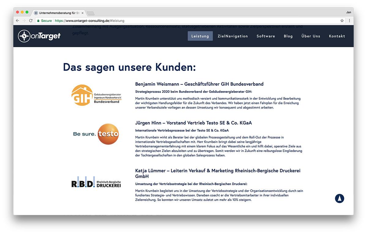 KreativBomber Webdesign Freiburg Projekt onTarget-Consulting - Kunden