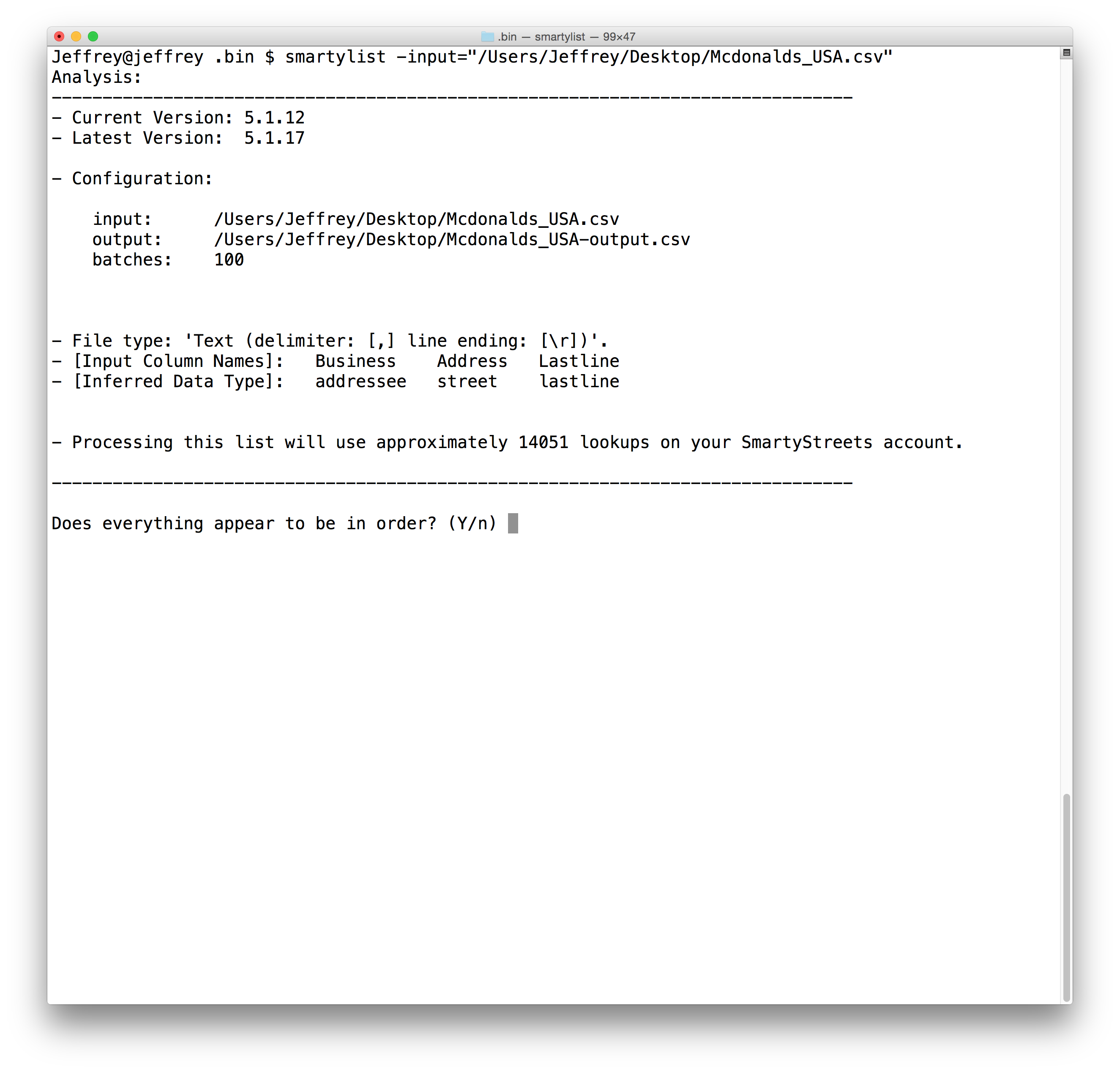 image of command line confirmation
