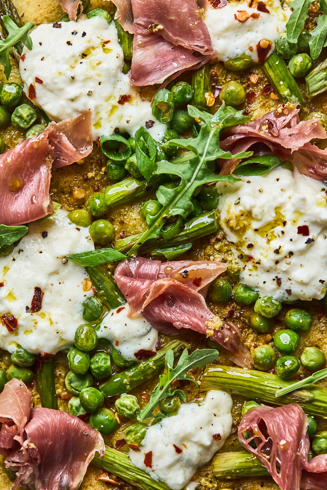 Flatbread Pizza With Pesto Asparagus Prosciutto and Burrata