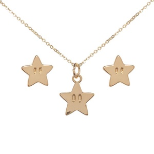Super Mario Star Necklace and Earrings Set