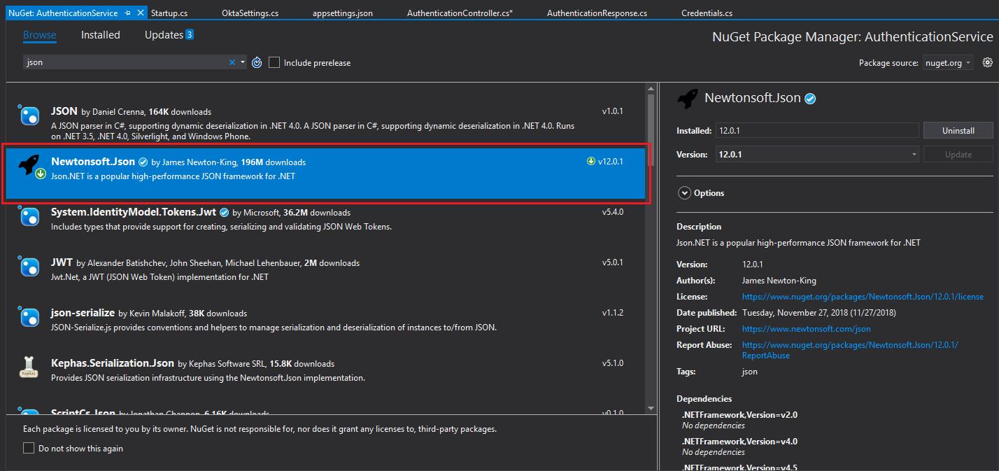 Install NewtonSoft JSON