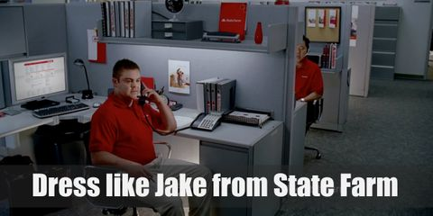 Jake from State Farm looks like a regular call center employee. He proudly wears his uniform which consists of a red polo shirt, a pair of khaki pants, and black sneakers. See, regular!