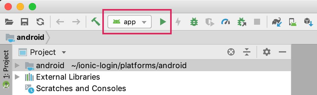 App in toolbar