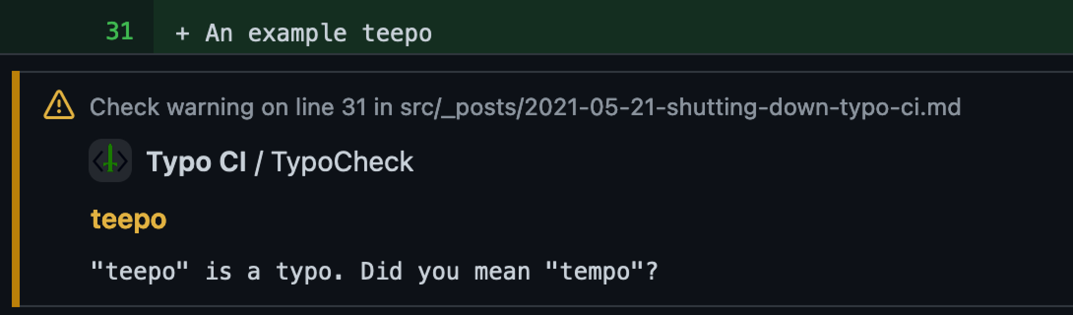 An annotation within a Pull Request