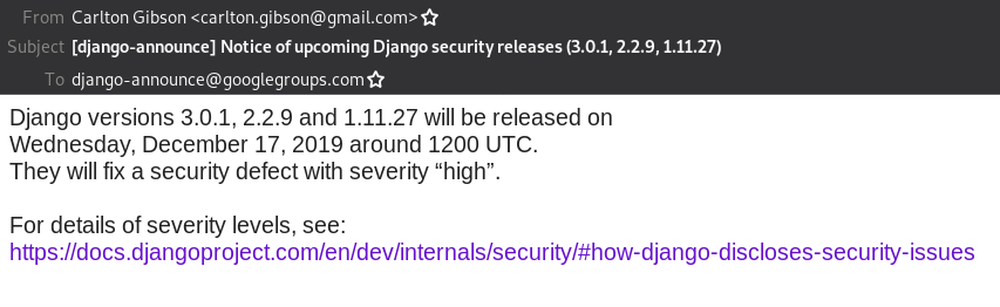 Email announcing the upcoming security release.
