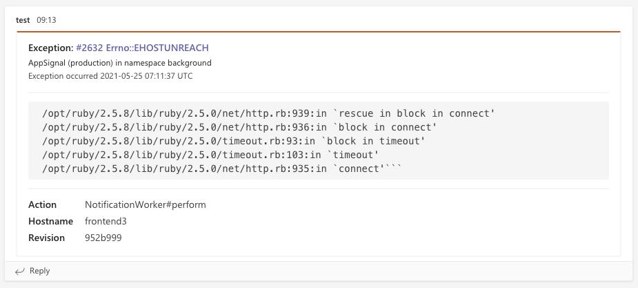 MS Teams error screenshot