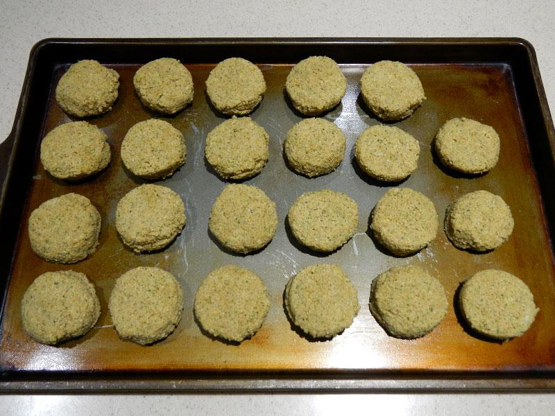 Unbaked Falafel on Cookie Sheet