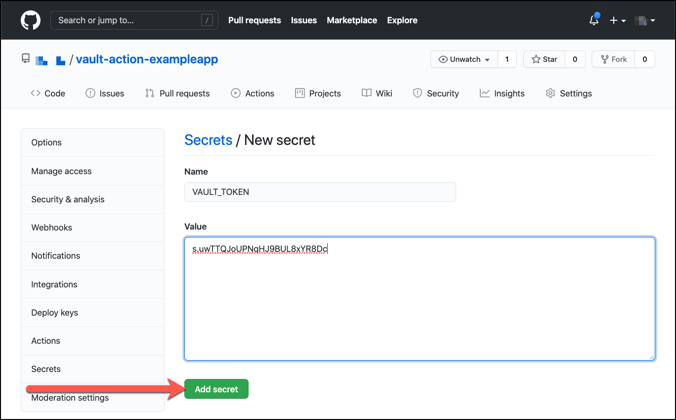 GitHub repo settings create secret for VAULT_TOKEN