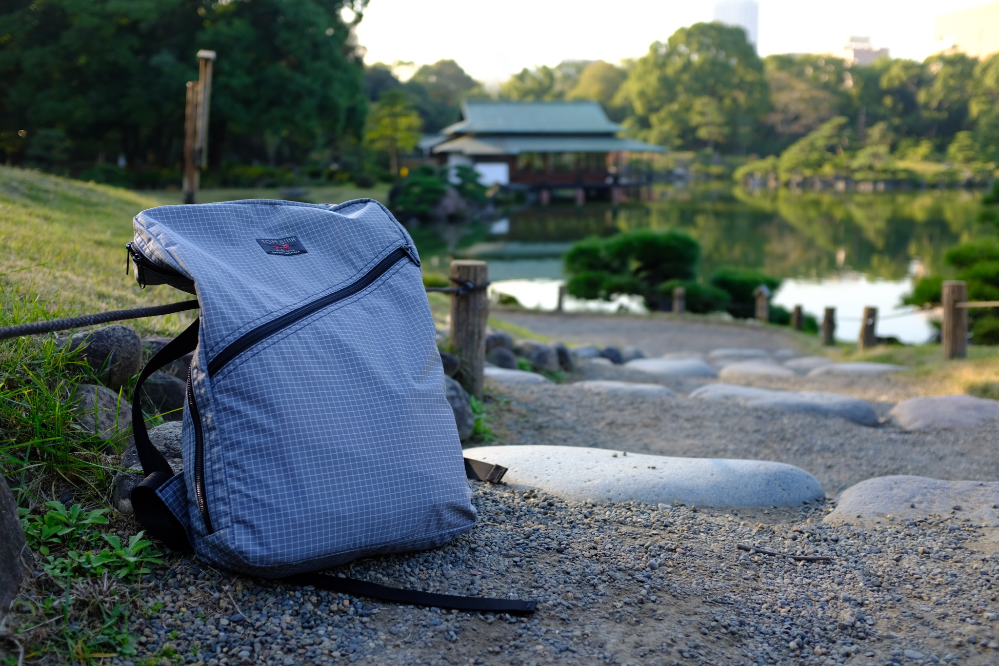 The Packing Cube Backpack during my hike in Kiyosumi Gardens of Tokyo, Japan