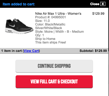 sneakers in the cart!