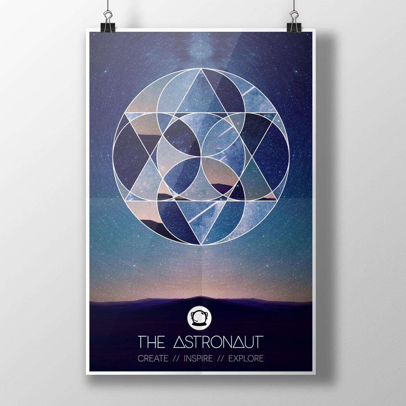 A poster mockup of the final geometric design