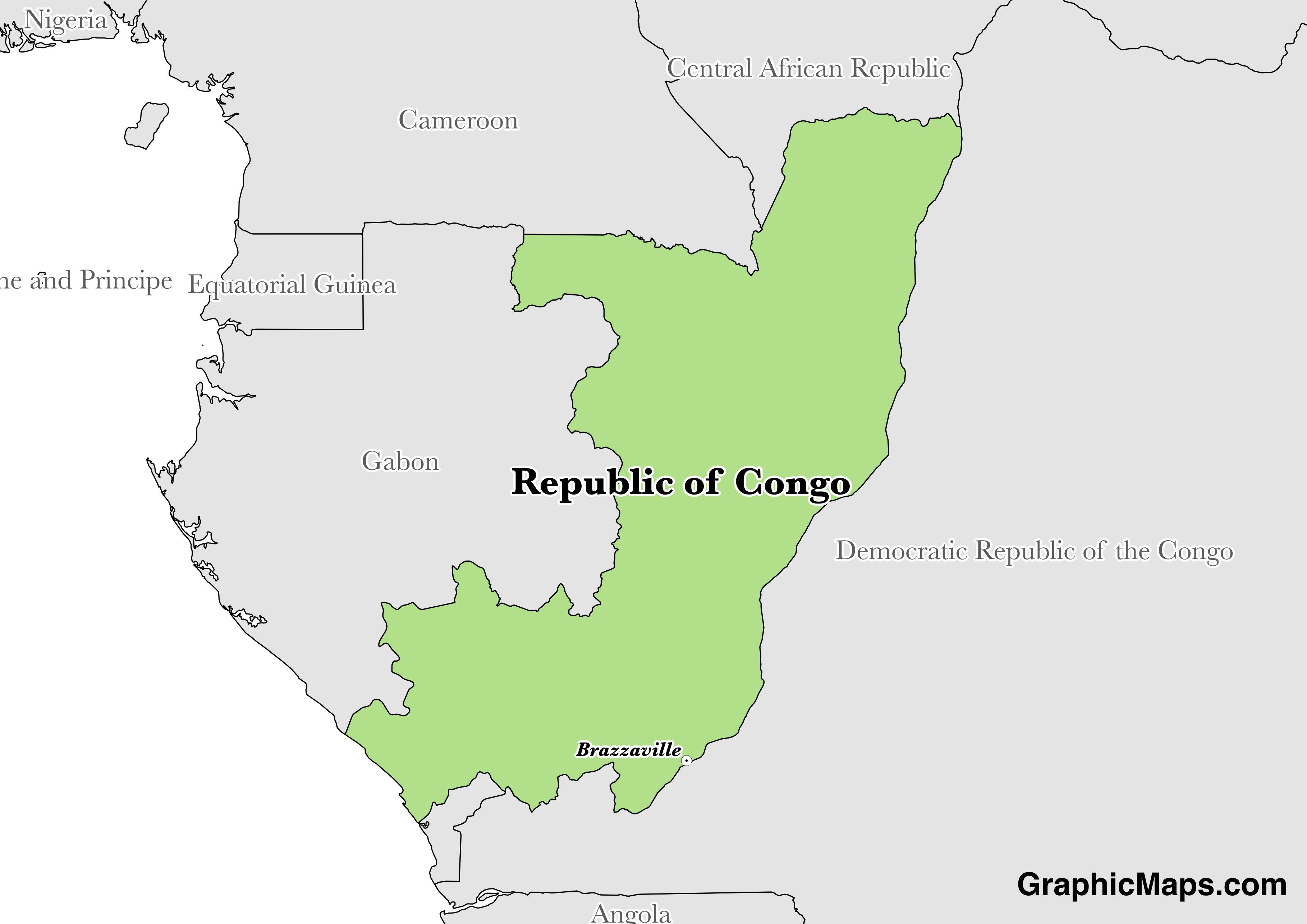 Map showing the location of Republic of the Congo
