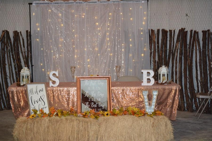 Decorations inside the barn at Chapel falls