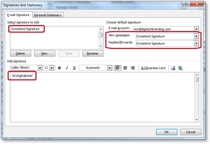 email signatures dialog settings