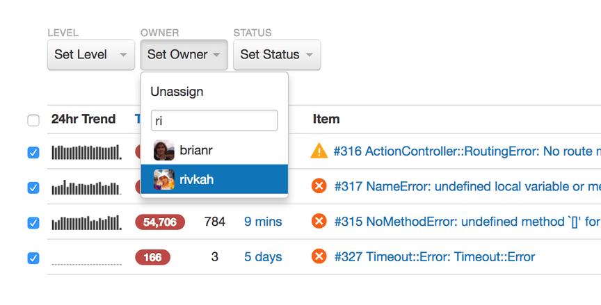 rollbar error live feed