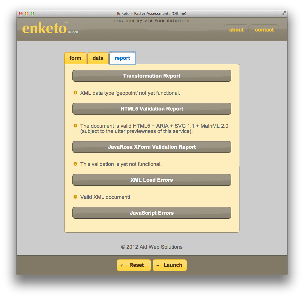 Screenshot showing XML-to-HTML5 transformation report