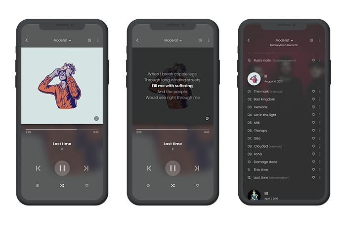 Music player app with two screens. The first with the current playing song and the second with an album musics list.