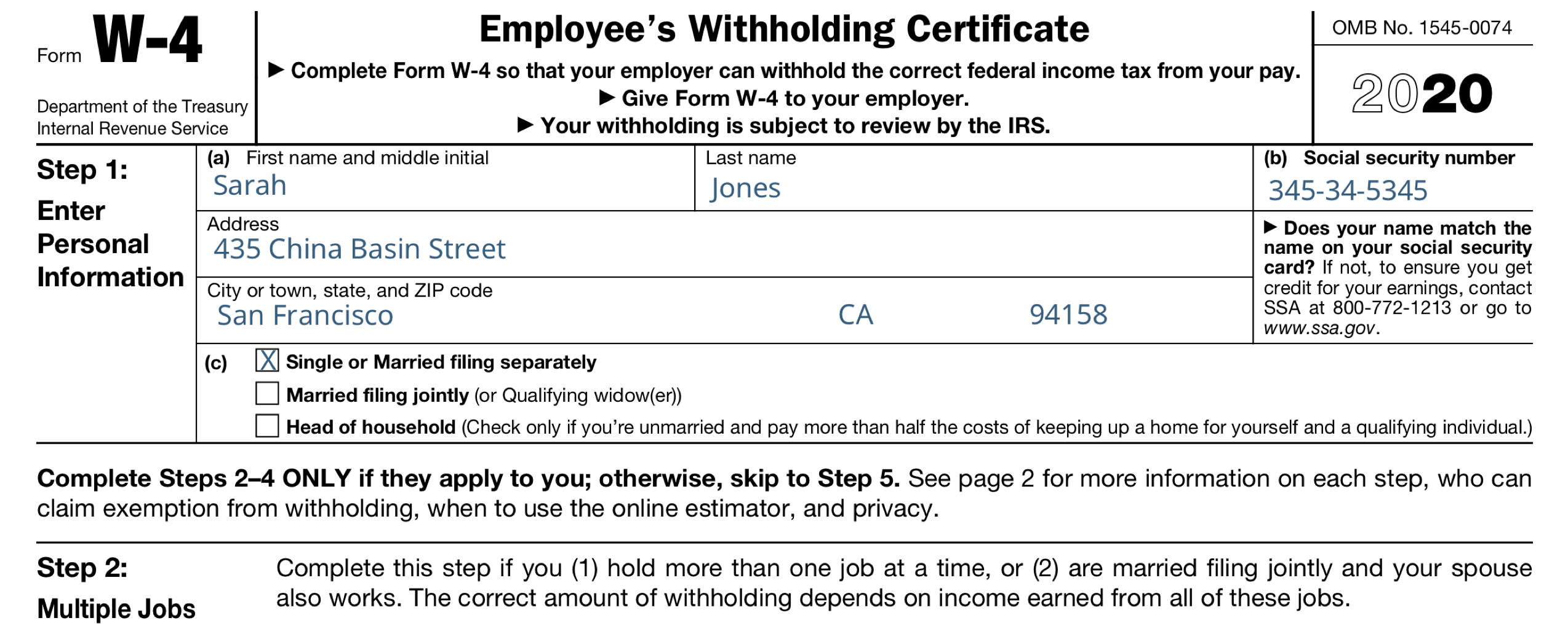 IRS W-4 Employee's Witholding Allowance Certificate Form