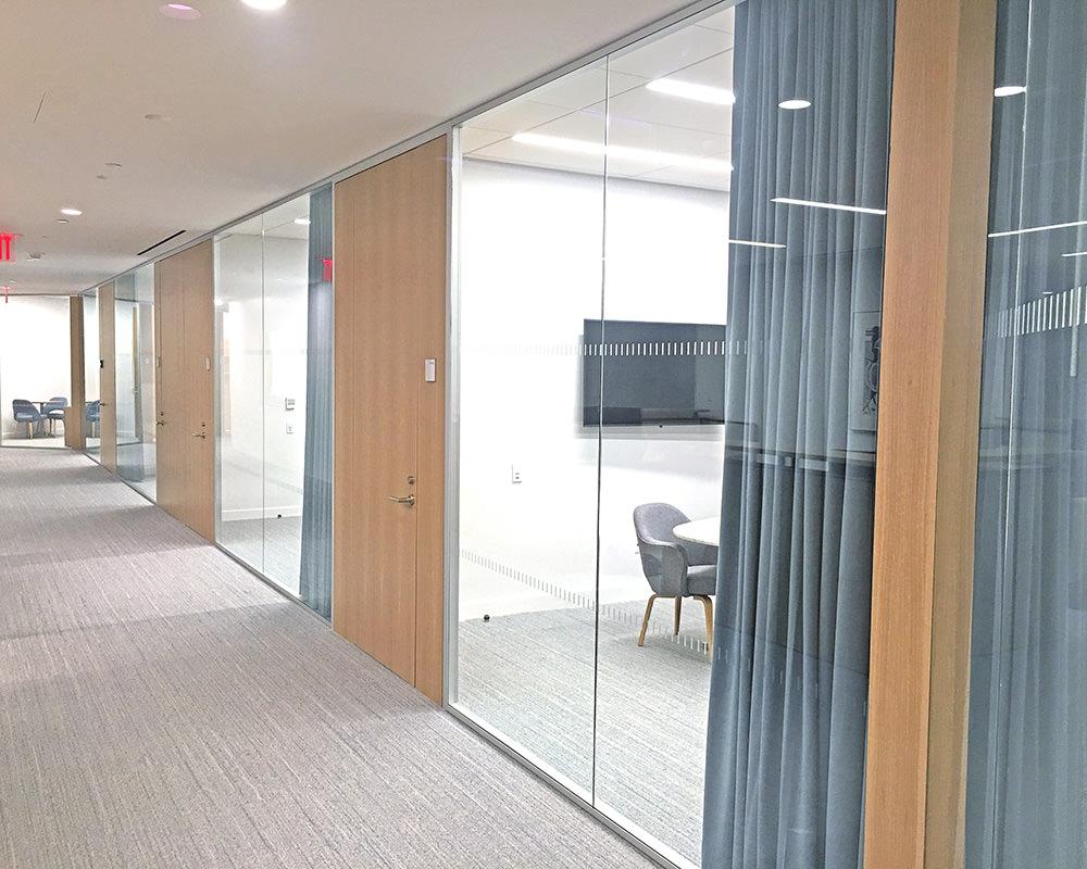 Office Hallway with Wooden Doors