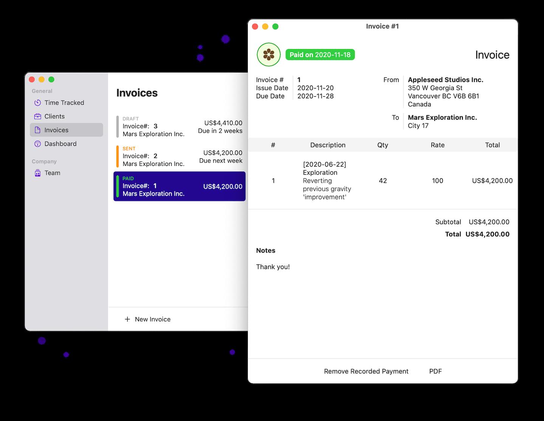 Invoicing Screen