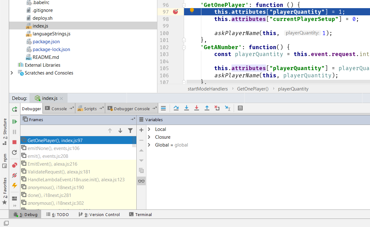 Debugging windows in WebStorm