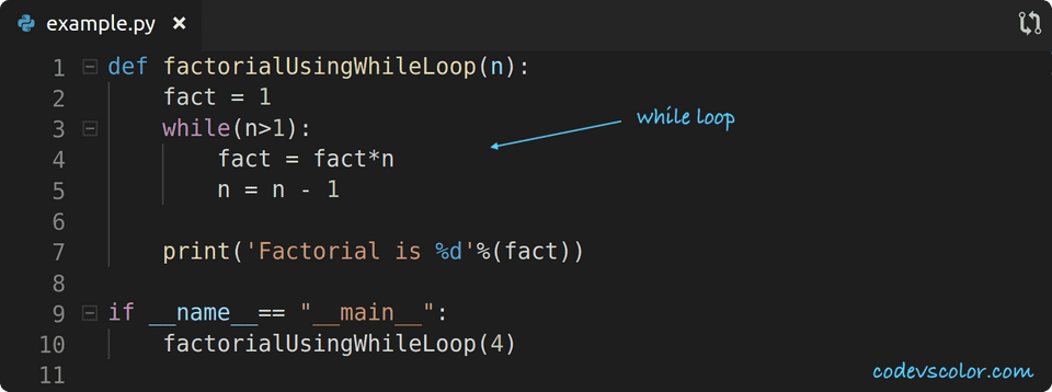 python factorial while loop