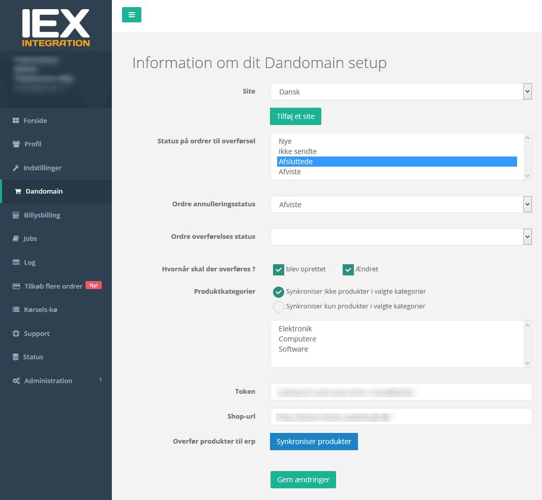 Billy Regnskabsprogram integrerer med IEX og Dandomain