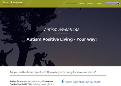 Autism Adventures Website Screenshot