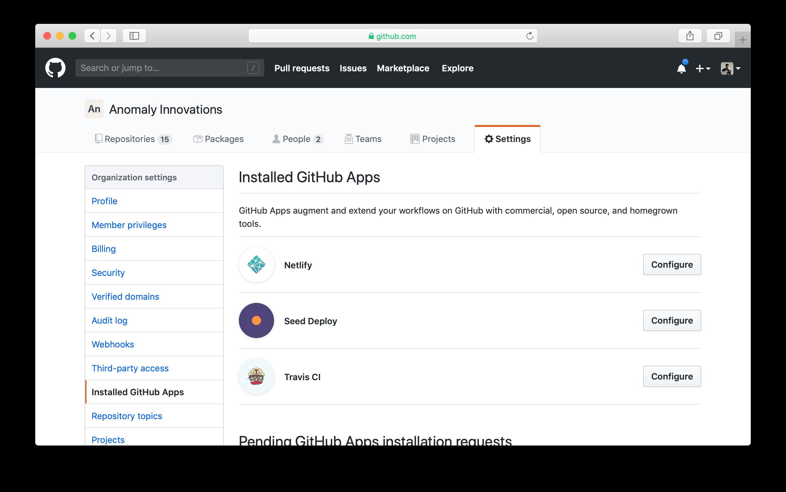 Installed GitHub apps in GitHub organization