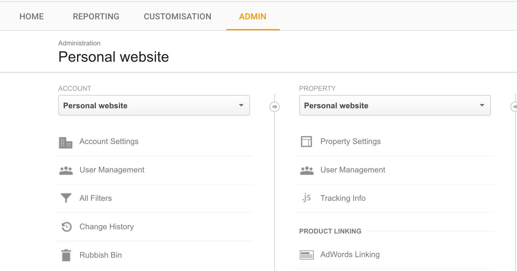 Google Analytics administration panel