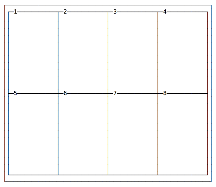 A grid with 4 columns and 2 rows