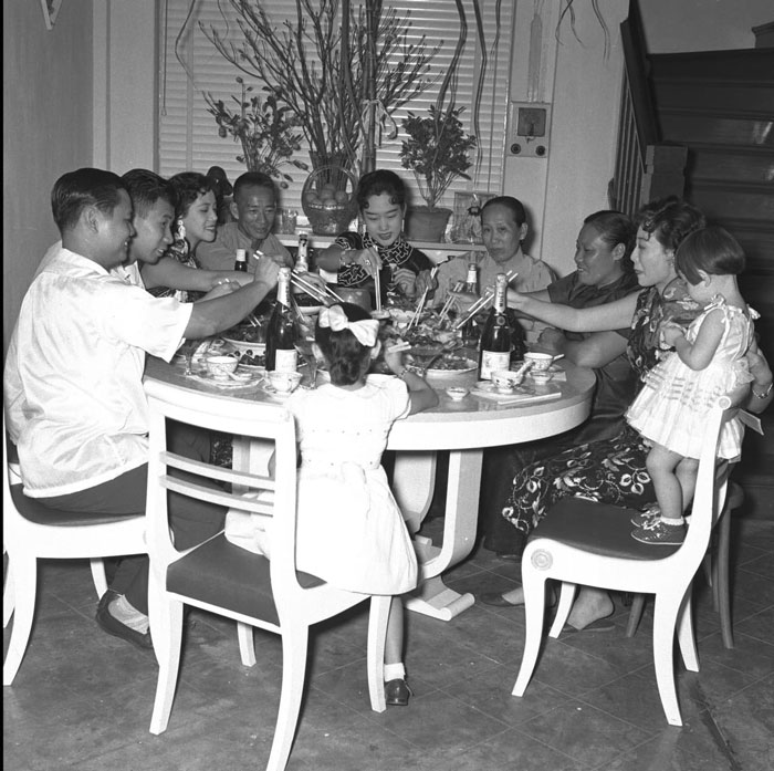 Reunion dinner on the eve of Chinese New Year, 1955