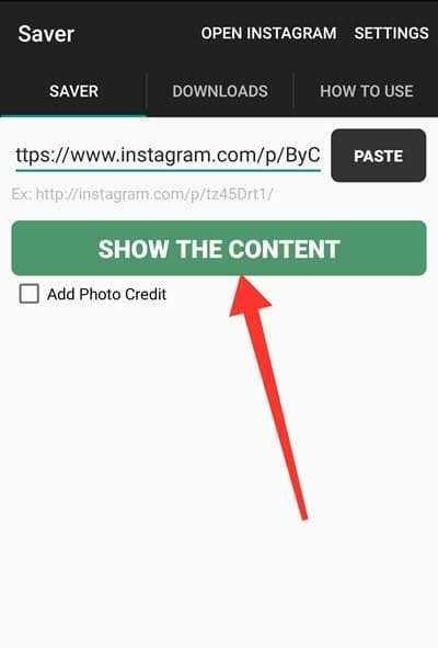 saver instagram downloader show content