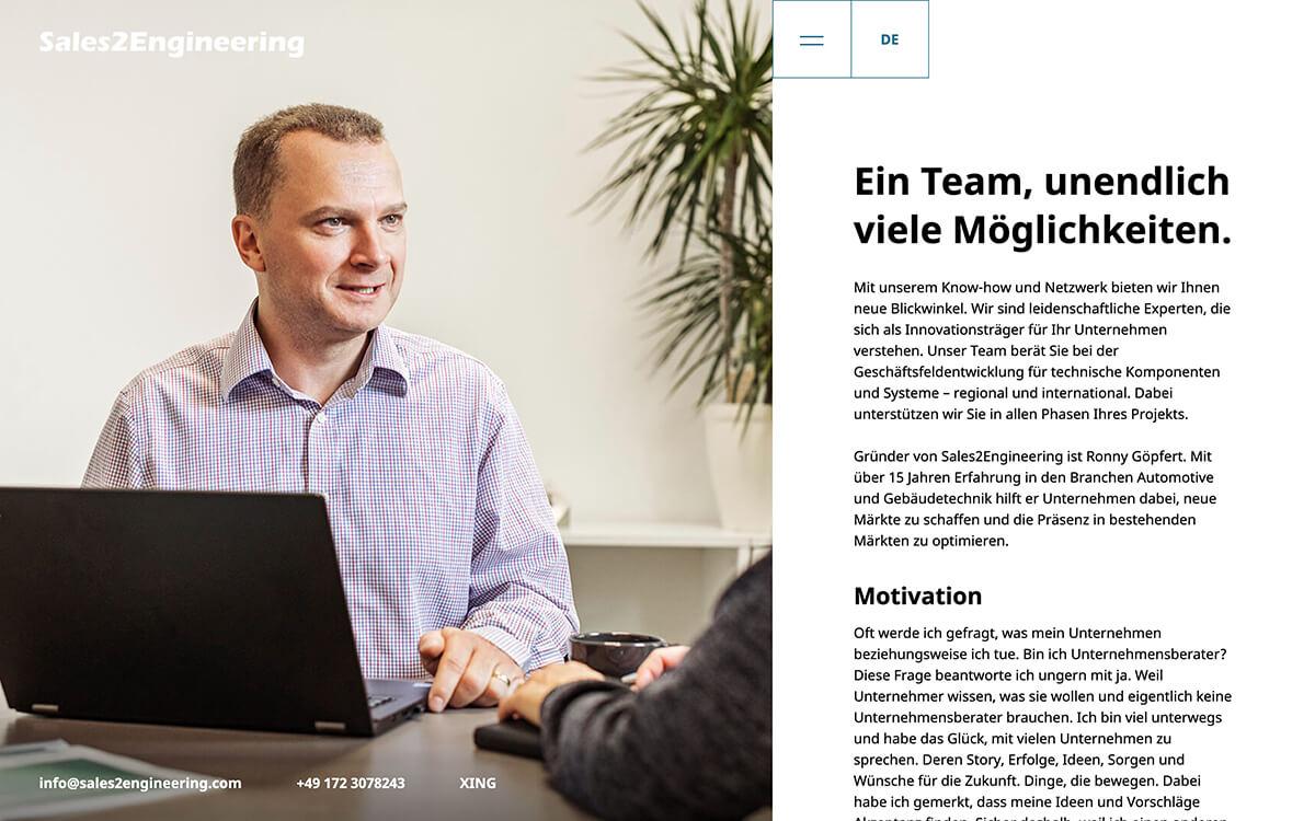 Website von Sales2Engineering: Teamseite