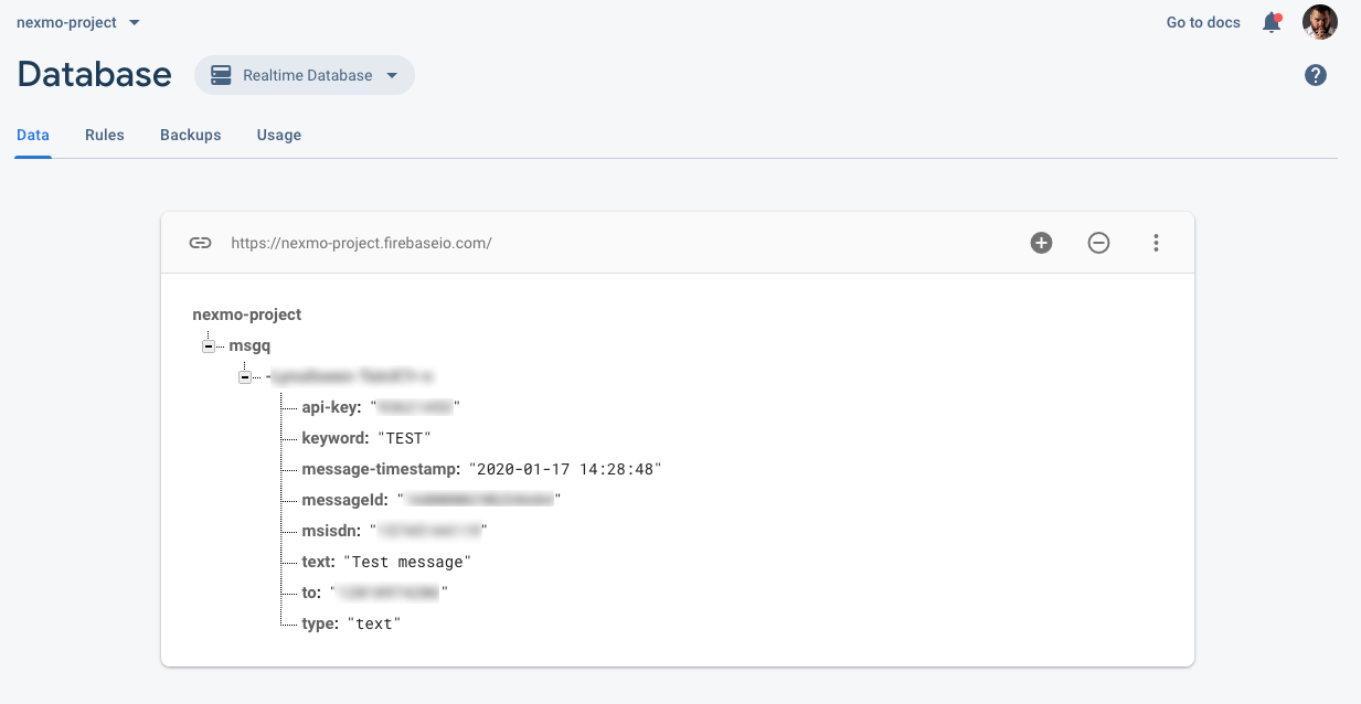 Making a Vonage database entry in real-time