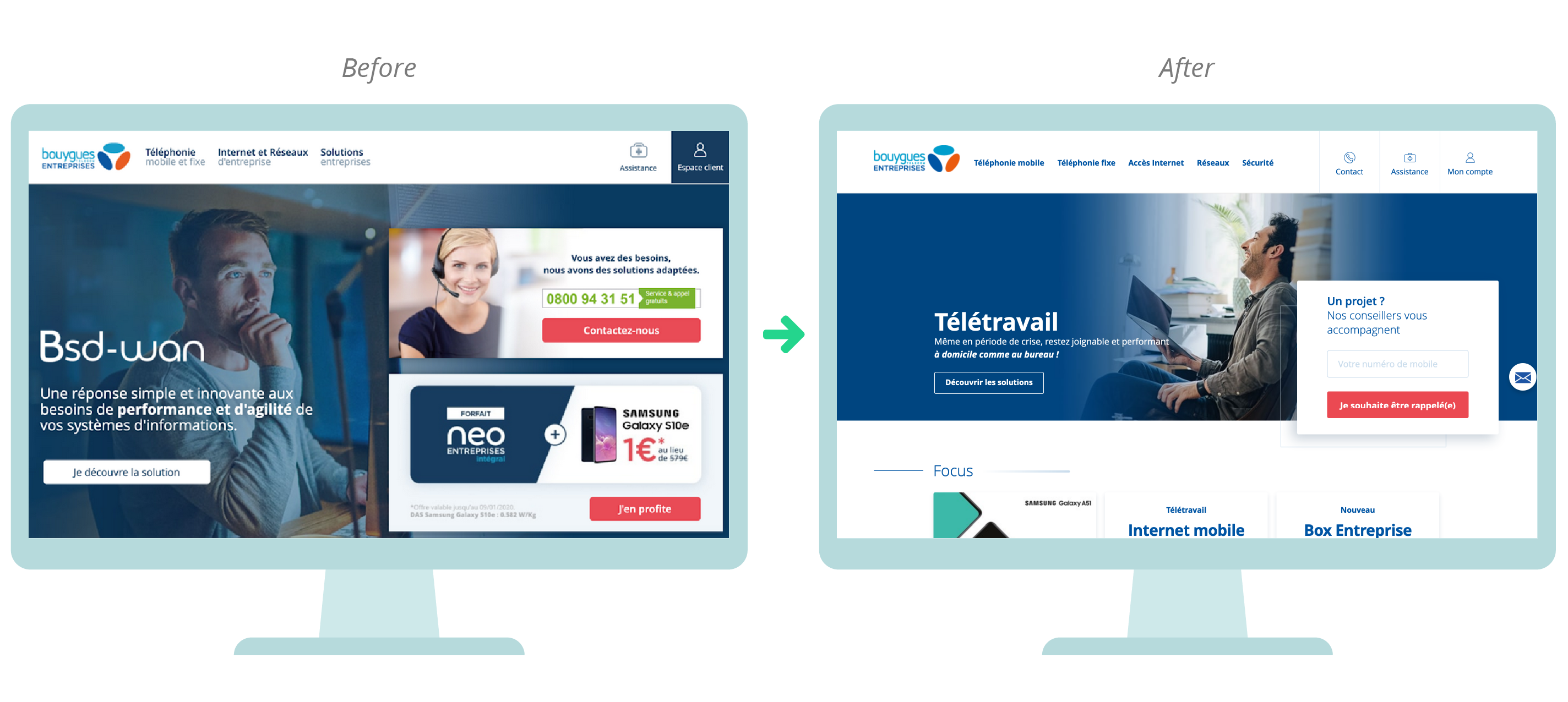 Before / After the redesign with the new menu generated by the focus group card sort