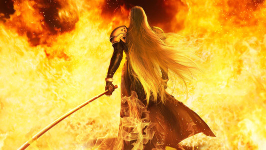 A screenshot of the Final Fantasy 7 Remake showing Sephiroth walking away from the flames of Nibelheim