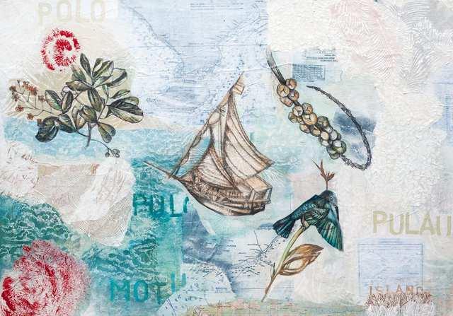 Austronesian Languages Island, woodblock acrylic on canvas