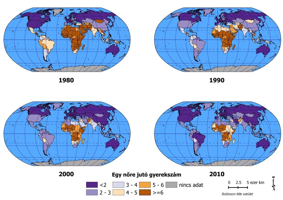 Az egy nőre jutó átlagos gyerekszám a Föld egyes országaiban, 1980-2010 (a Világbank adatai)