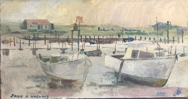 painting of fishing boats standing on the sand at low tide