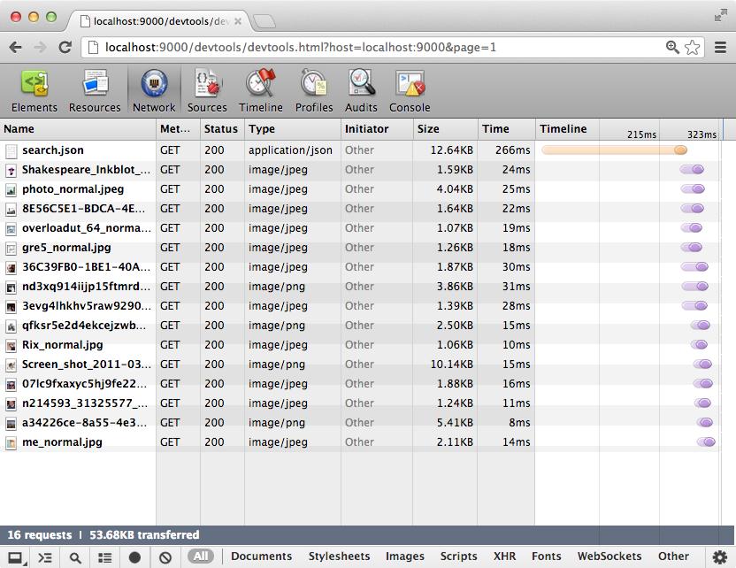 Network traffic in Chrome Developer Tools