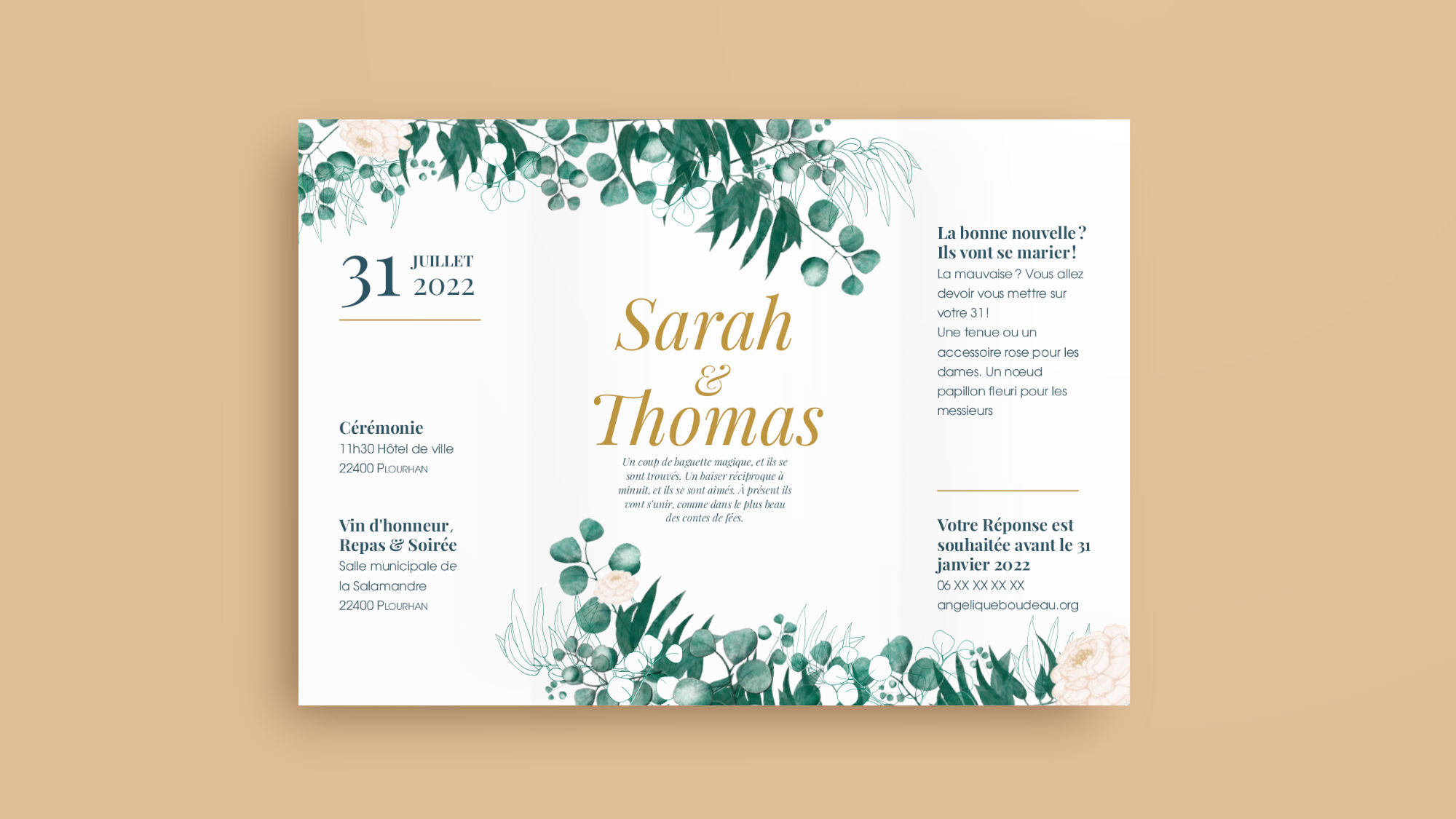 Mockup of the back of the wedding invitation on a colored background. Includes coloured illustrations of eucalyptus and peonies.