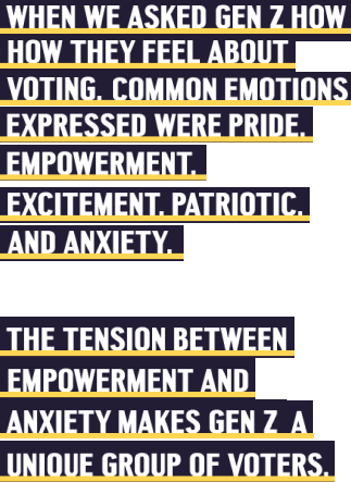 All in to vote quote - When we asked Gen Z how they feel about voting, common emotions expressed were pride, empowerment, excitement, patriotic, and anxiety. The tension between empowerment and anxiety makes Gen Z a unique group of voters.