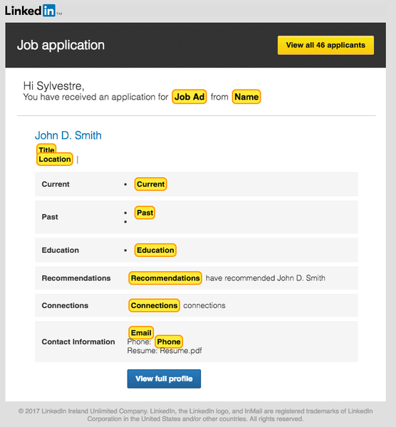 LinkedIn job application template example
