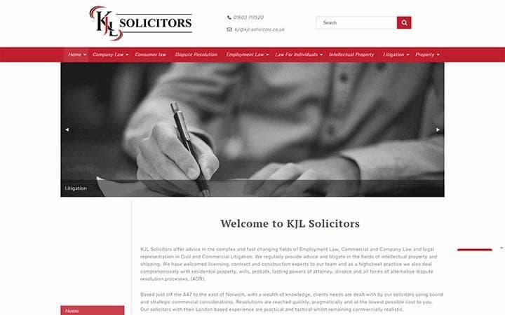 KJL Solicitors website frontpage