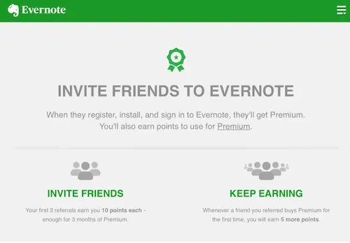 Evernote referral program
