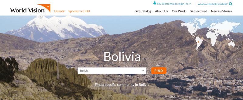 World Vision International Bolivia page