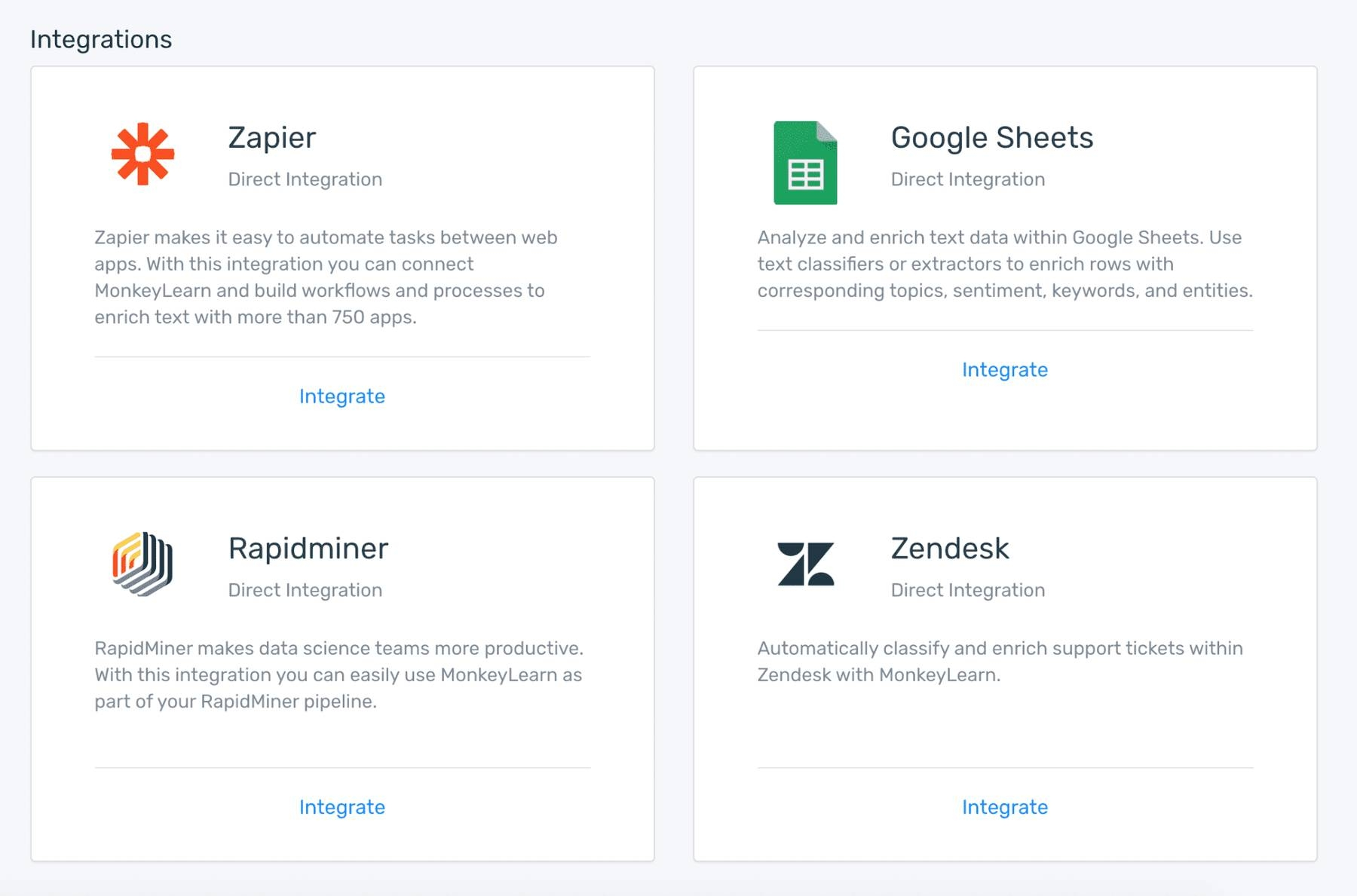 A choice of app integrations: Zapier, Google Sheets, Rapidminer, and Zendesk.