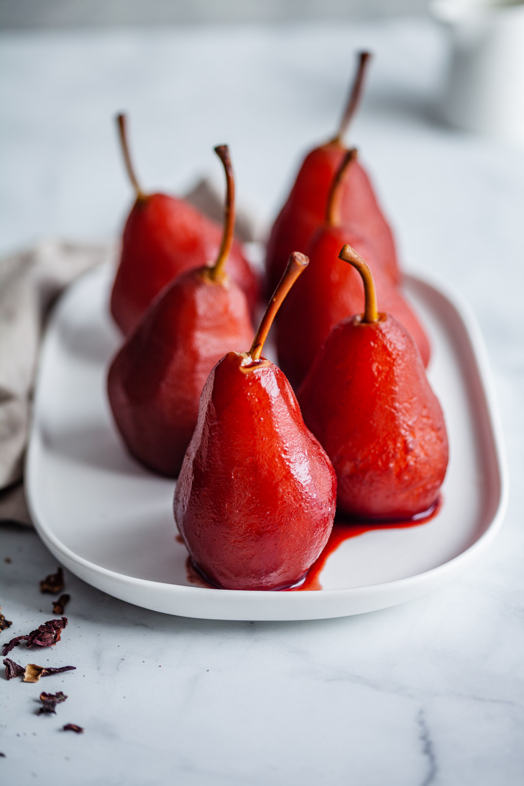 Healthy Dessert Recipe: Baked Vanilla Yogurt With Hibiscus Poached Pears